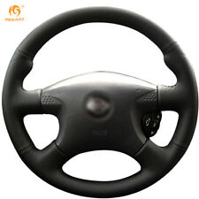 Black Wearable Leather Steering Wheel Cover for Nissan Almera 2000-2003