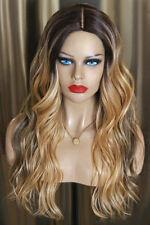 Ombre Perücke lace an front schwarz braun blond mittelblond lang haut skin silk