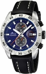 Lotus Men's Quartz Watch with Blue Dial Chronograph Display and Black Leather St