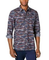 American Rag Mens Shirt Navy Blue Size Small S Button Down Camo-Print $45 297
