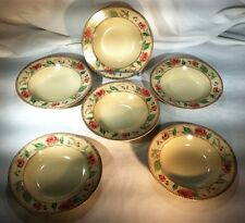 """222 Fifth 6 Rimmed Soup Bowls Florence Pattern Roses 9 1/8"""""""