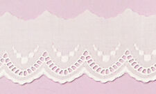 100% cotton White Swiss Embroidery Edging with Scallop Design, 1.5 inches wide