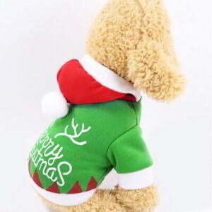 Cute Dog Puppy Christmas Santa Warm Costumes Coat Clothes Pet Apparel Shirt