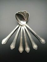 Antique Vintage Set of 6  Solid Silver Large Tea Spoons