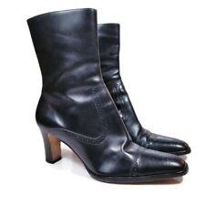 Ralph Lauren Leanne Womens Sz 8 B Black Leather Heeled Ankle Bootie Side Zip