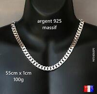 Très Grosse Chaine gourmette épaisse pour homme en argent massif 925 neuve 55cm