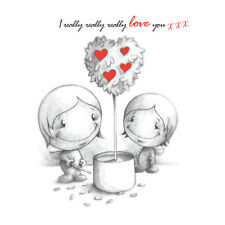 """""""I Really Love You"""" Cupids Birthday Card him/her growing red hearts tree b&w"""