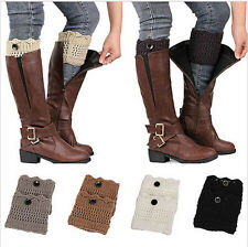 Women Winter Crochet Knit Lace Leg Warmers Cuffs Toppers Boot Socks Leggings
