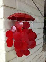 Gloss red capiz shell mobile/windchime. Beach coastal decor hamptons art