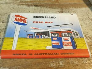 Old AMPOL  Oil Co. ROAD MAP of QUEENSLAND   Australia