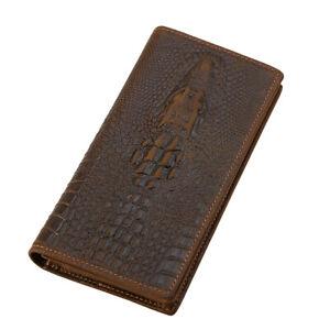 RFID Retro Men Genuine Leather Clutch Long Wallet Cowboy Purse Phone Card Holder