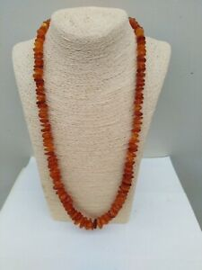 "Vintage Mixed Amber bead long necklace. 28"" long  43..7 grams."