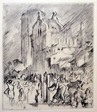 Frank William Brangwyn RA RWS RBA (1867-1956) Landscape with figures, water pump