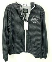WESC Mens Black Pinstripe Full Zip Windbreaker Light Jacket Sz M Medium NEW