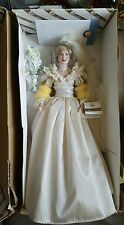 "Franklin Mint Princess Diana Porcelain Bride Doll 19""  New with COA."