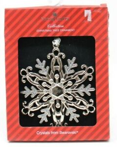 Harvey Lewis 2018 Silver Snowflake Ornament Adorned with Crystals from Swarovski