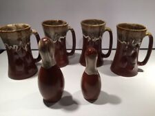 Bowling Lovers !!! Four Mugs & Salt Pepper Shakers Hand Made Pottery Mid Century