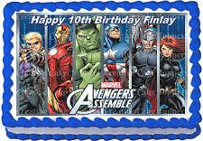 Marvel Avengers Assemble Superhero Hulk Captain America Edible Icing Cake Topper