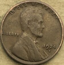 """1924 -S """"Fine"""" Lincoln Wheat Penny Cent. FREE SHIP! """"Fine"""" Lincoln Wheat Brownie"""