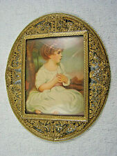 Vintage Rectangle In Oval Dome Glass Filigree Picture Frame - Bees & Honeycomb