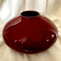 Amano Squat Vase Ox Blood Red Pottery Made In Germany 629-13