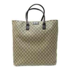 GUCCI GG Plus Canvas Extra Large Tote Handbag Beige Brown Leather 131219