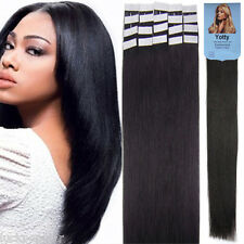 Natural Black Brazilian Remy Human Hair Extensions Tape In Skin Weft 16Inch20Pcs