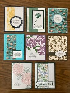 8 handmade sympathy cards. Stampin Up and more.