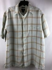 Utopia Men's Washable Linen , Green Plaid  Shirt , short sleeve, size L, large
