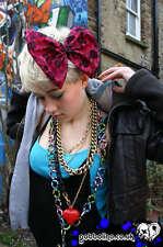 BIG BOW HAIR CLIP PINK  BLACK LACE - EMO SCENE GOTH rockabilly kawaii burlesque