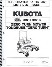 Kubota ZD1211 ZD1211L Zero Turn Mower Illustrated Parts Manual 97898-43310