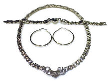 Silver I LOVE YOU Hugs and Kisses Necklace Bracelet and hoops Earrings Set, XO