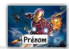 Plaque de porte en ( sur ) bois Iron Man avec prénom   N° 125