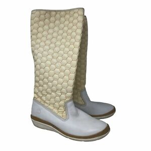 Timberland Womens Knee Leather Slip On White Quilted Boots Shoes Size 9 M