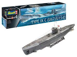 Revell 05166-1/72 Alemán Submarino Tipo Ixc U67/U154 - Nuevo