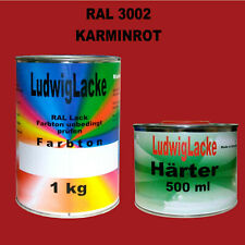 RAL 3002 Karminrot 1,5 kg Acryllack glänzend mit Härter Top Preis
