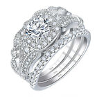 Wedding Rings For Women Engagement Ring Set Sterling Silver 2ct Round Aaaa Cz