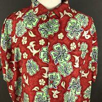 RIMA Men's Aloha Hawaiian Shirt Big & Tall Size 3XL Bright Hibiscus Floral Print