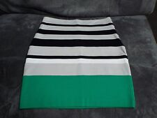 EXPRESS WOMENS Beige/Black/Green Striped HIGH WAIST PENCIL SKIRT NWT! 8