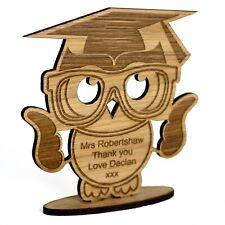 Personalised Thank you Teacher Gift Wooden Owl School Nursery Leaving