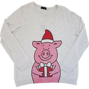Percy Pig Xmas Jumper Marks & Spencer Ladies Womens Size 16 UK Sparkle Novelty