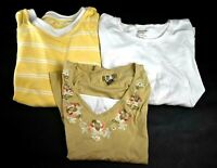 Lot of 3 White Stag Women's XL Short Long Sleeve T-Shirt Top Yellow White Brown