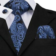 UK Blue Black Paisley Floral Necktie Silk Jacquard Mens Tie Set Wedding N-981