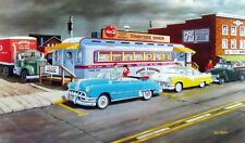 """Ken Zylla A Taste of the Past Old Time Diner and Car Print SN   30"""" x 18"""""""