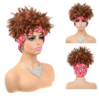 Afro Kinky Curly Wrap Wigs for Black Women Drawstring Puff Hair Headband Wigs