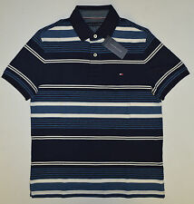 NWT Men's TOMMY HILFIGER Short Sleeve Polo Shirt, L, Large, Blue, White Stripes