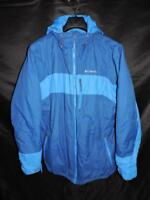 Columbia L Mens Blue Coat Thermal Coil Lined Insulated Hood Zip Front Pockets