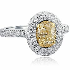 Halo Oval Cut Yellow 1.68Ct Diamond Engagement Ring Micropave Set 18k White Gold