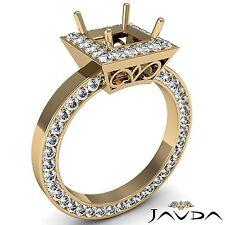18k Yellow Gold Pave Filigree Ring Diamond Engagement Princess 1.47Ct Semi Mount