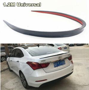 1Pcs Black Soft Car Rear Roof Trunk Spoiler Rear Wing Lip Trim Sticker Kit 1.2M